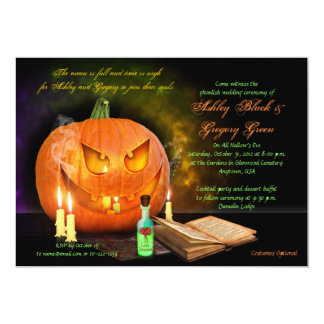 "Jack O'Lantern Halloween Wedding Invitation 5"" X 7"" Invitation Card"