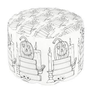 Jack O'Lantern Line Art Design Pouf