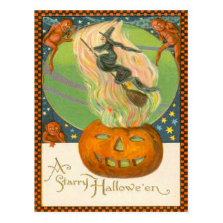 Jack O'Lantern Pumpkin Witch Fire Demon Postcard