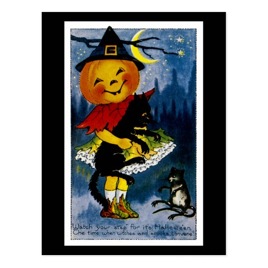 Jack o'Lantern Witch Postcard