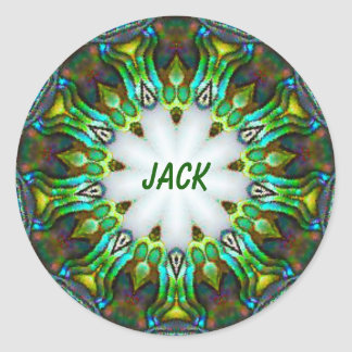 JACK ~ Personalised Paua Shell Fractal ~ Classic Round Sticker