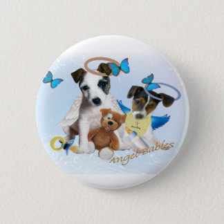 Jack Russell  Angel Babies 2 Inch Round Button