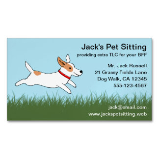 Jack Russell Cartoon Dog Running on Grass Magnetic Business Card