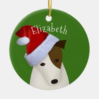 Jack Russell Christmas Santa hat Ceramic Ornament
