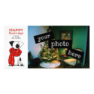 Jack Russell Cute Dog Scarf Christmas Cartoon Photo Cards