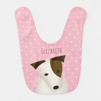 Jack Russell dog baby girl's name dots on pink Bib