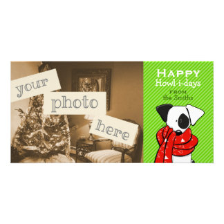 Jack Russell Dog Christmas Green Stripe Customized Photo Card