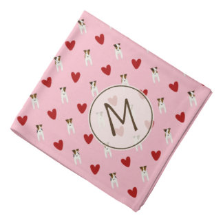 Jack Russell dogs and red hearts monogrammed Bandana