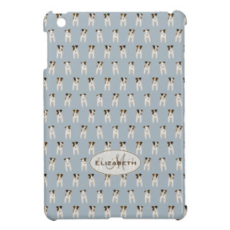 Jack Russell dogs tiny pattern monogram blue Case For The iPad Mini