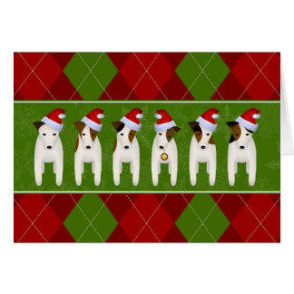 Jack Russell dogs wearing Santa hats Christmas Card