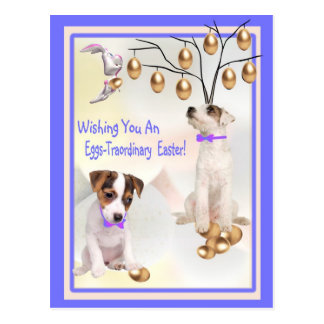 Jack Russell Eggs -Traordinary Easter Wishes Postcard