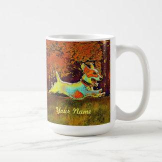 jack russell in autumn mug