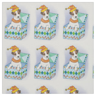 """Jack Russell In the Box"" Cotton Twill Fabric"