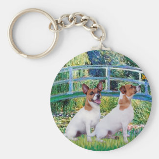 Jack Russell Pair 2 - Bridge Basic Round Button Keychain
