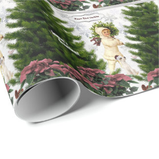 Jack Russell Pink Poinsettias Tile Gift Wrap