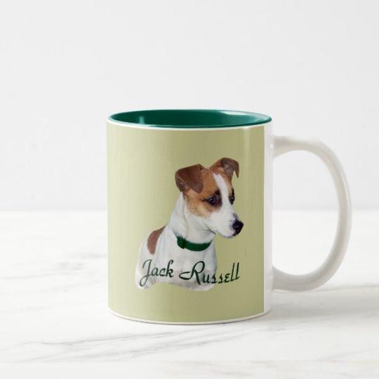 Jack Russell Portrait Two-Tone Coffee Mug