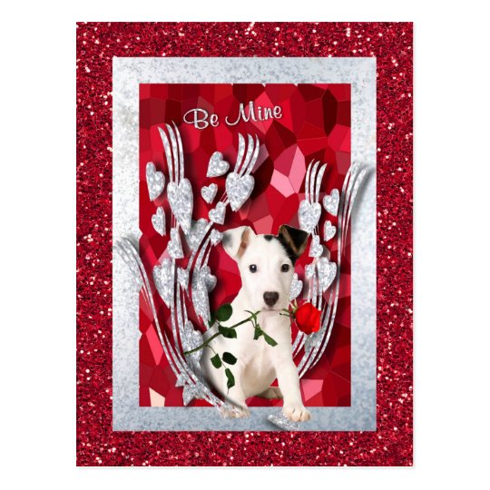 Jack Russell Puppy Be Mine Valentine Version Two Postcard