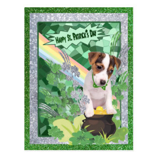 Jack Russell Puppy Number 1 Happy St Patricks Day Postcard