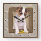 Jack Russell Puppy Ornate Gold Wall Clock