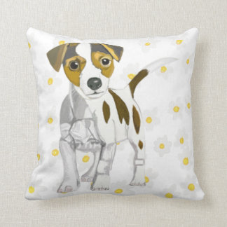 Jack Russell Terrier against a Daisy background. Throw Pillow