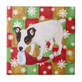Jack Russell Terrier Christmas Snowflakes Tile