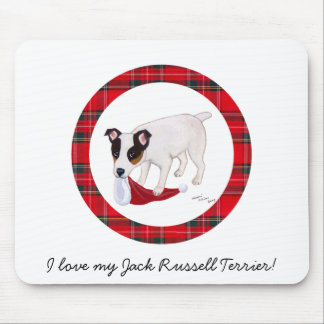 Jack Russell Terrier Christmas Tartan Mouse Pad