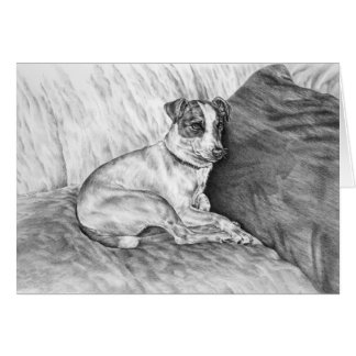 Jack Russell Terrier Dog Drawing by Kelli Swan Card
