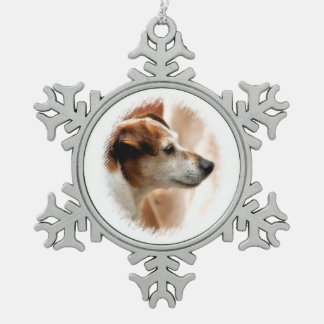 JACK RUSSELL TERRIER DOG SNOWFLAKE PEWTER CHRISTMAS ORNAMENT