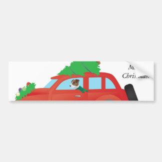 Jack Russell Terrier Driving Christmas Car Bumper Sticker