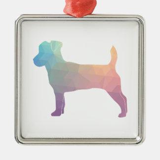 Jack Russell Terrier Geometric Pattern Silhouette Metal Ornament