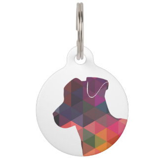 Jack Russell Terrier Geometric Pattern Silhouette Pet Name Tag