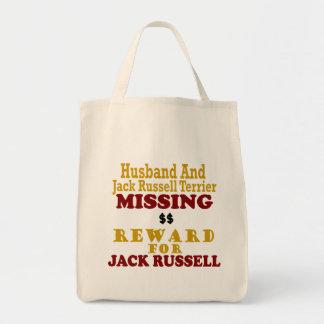Jack Russell Terrier & Husband Missing Reward For Grocery Tote Bag