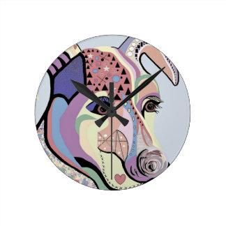 Jack Russell Terrier in Denim Colors Round Clock