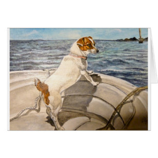 Jack Russell Terrier on boat Card