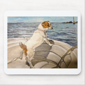 Jack Russell Terrier on boat Mouse Pad