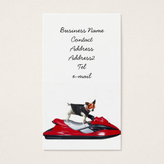 Jack Russell Terrier on jetski business card