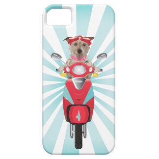 Jack Russell Terrier on Red Moped Case For The iPhone 5