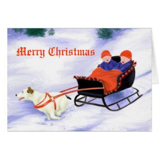 Jack Russell Terrier pulling sleigh Card