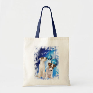 Jack Russell Terrier Puppy Let It Snow Design Tote Bag