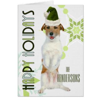 Jack Russell Terrier Santa Dog | Green Christmas Card