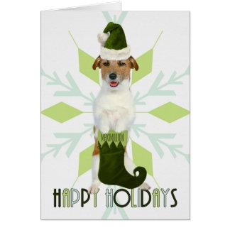 Jack Russell Terrier Santa Dog   Green Christmas Card