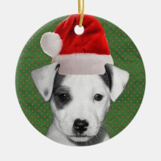 Jack Russell Terrier Santa puppy Ceramic Ornament