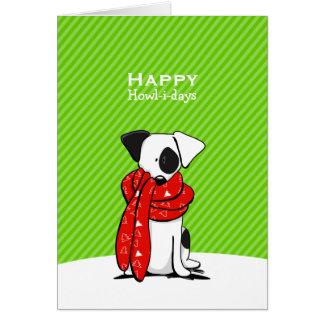 Jack Russell Terrier Scarf Green Modern Christmas Card