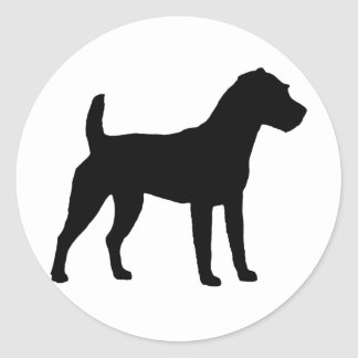 Jack Russell Terrier Silhouette Classic Round Sticker