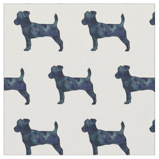 Jack Russell Terrier Silhouette Tiled - Black Fabric