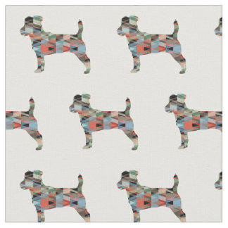 Jack Russell Terrier Silhouette Tiled - Plaid Fabric