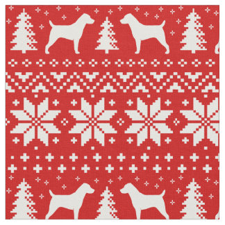 Jack Russell Terrier Silhouettes Christmas Pattern Fabric