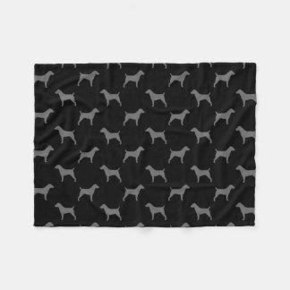 Jack Russell Terrier Silhouettes Pattern Fleece Blanket