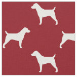 Jack Russell Terrier Silhouettes Pattern Red Fabric