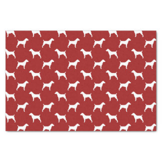Jack Russell Terrier Silhouettes Pattern Red Tissue Paper